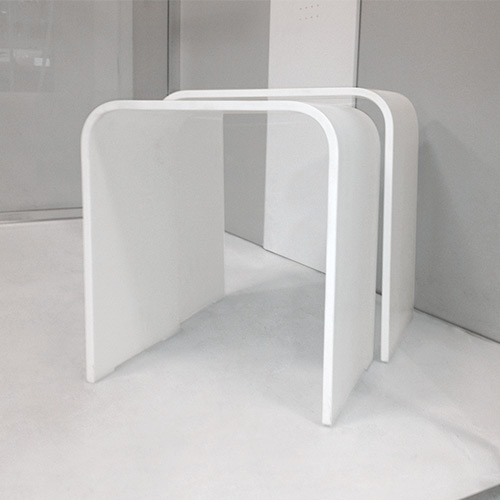 sgabelli in solid surface bianco 42 x 25 x 44 h 375 x 25 x 415 h