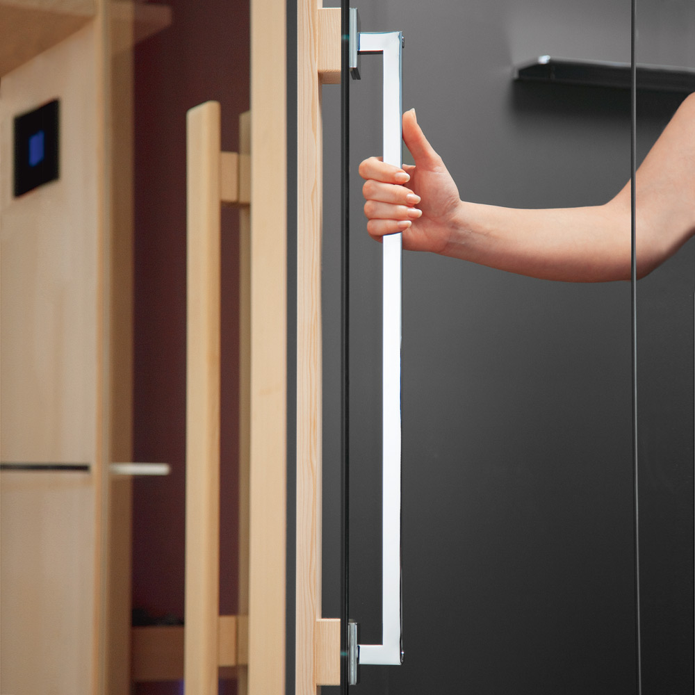 The handle of the shower unit is matched to the sauna handle