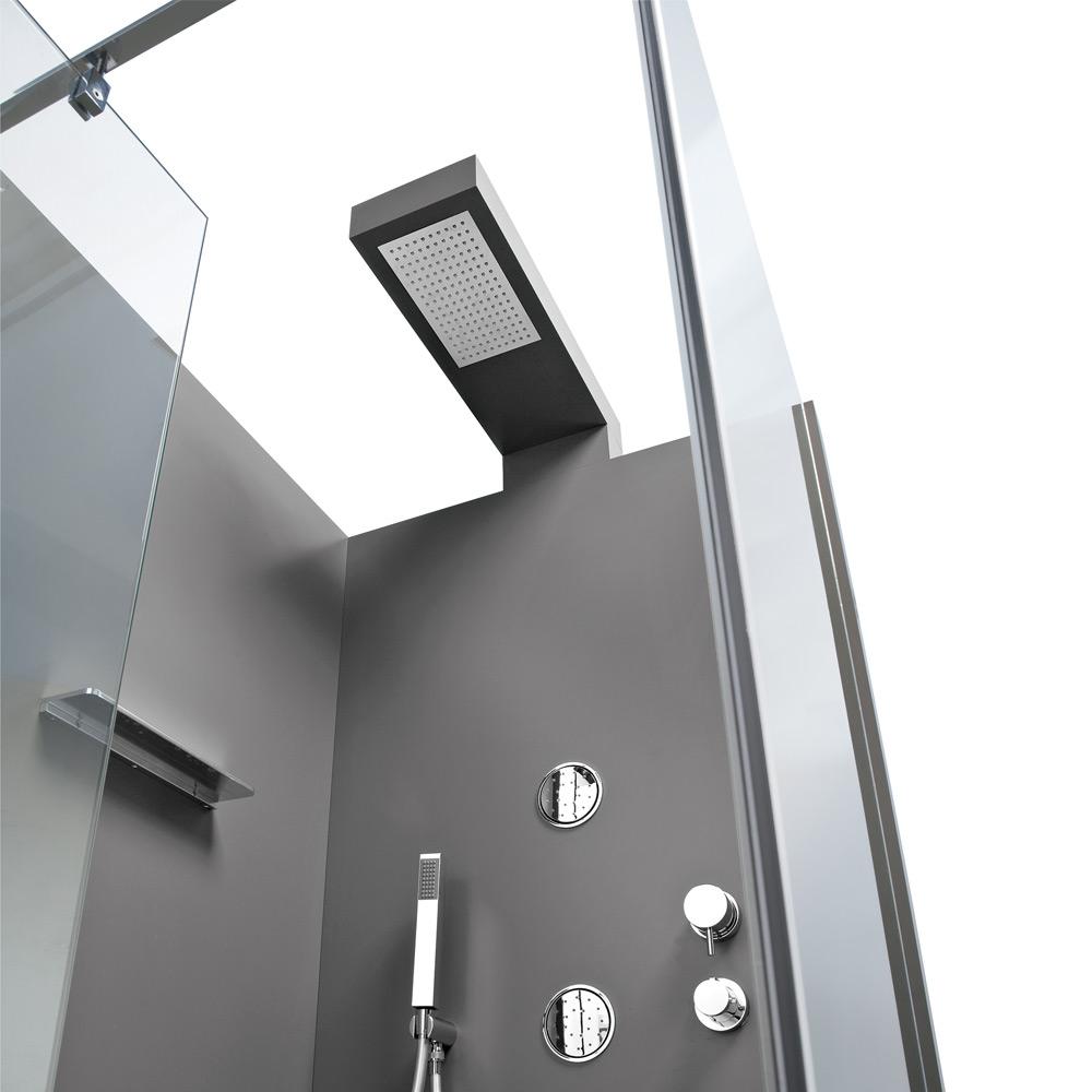 Box con soffione integrato, rubinetteria termostatica, doccetta, 4 jets verticali.